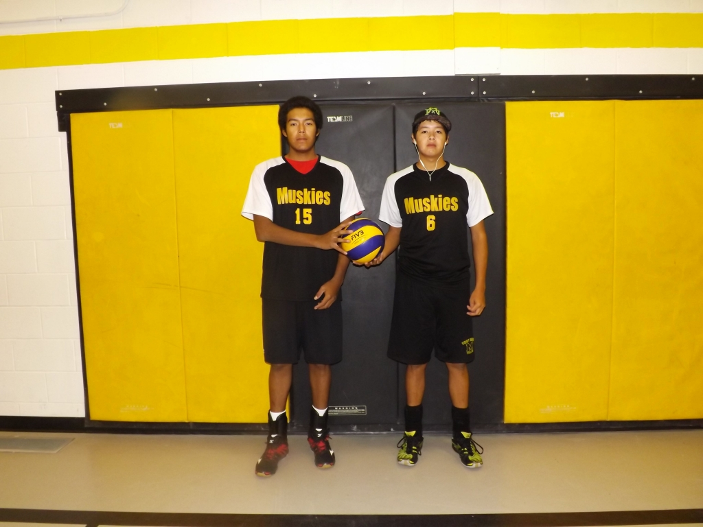 The Geyshick brothers, Henry and Brandon, helped their Fort Frances High School senior boys volleyball team to an 8-0 record and a NorWOSSA championship this year.  Submitted photo